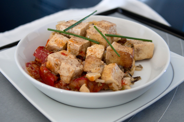 Gluten-free main course: tofu with tomato sauce