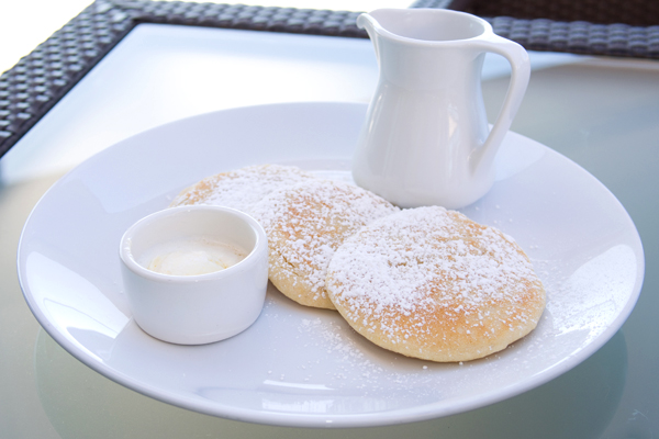 Gluten-free pancakes with a beautiful rooftop view