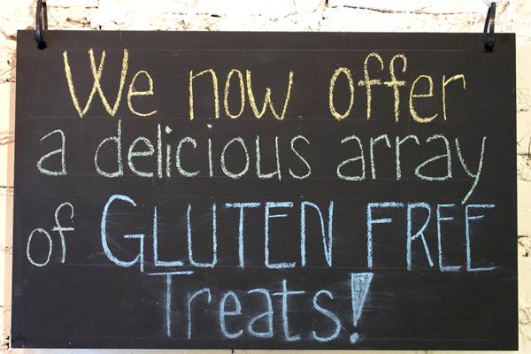 Enthusiastic gluten-free signage!
