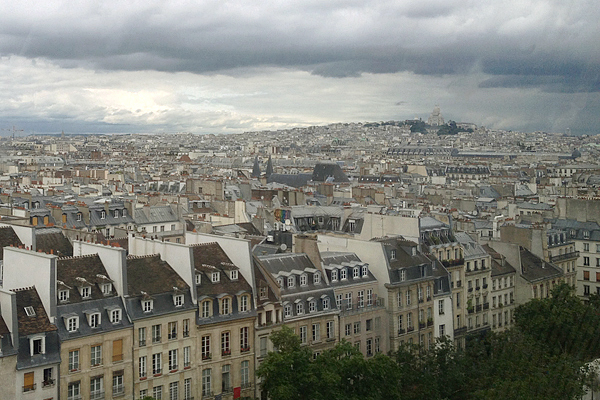 View of Paris rooftops and Montmartre from the Pompidou