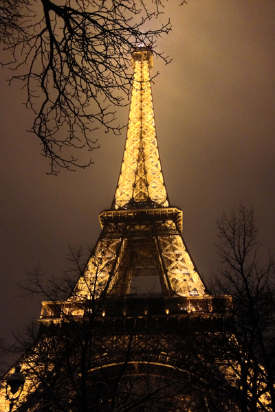 Eiffel Tower on a snowy winter night