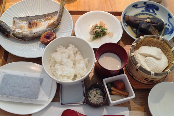 Japanese breakfast at Touzan (beware the gluten-ful elements)