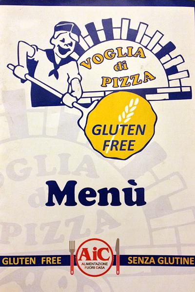 Voglia di Pizza gluten-free menu